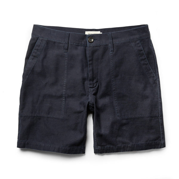 The Trail Short in Navy Slub Sateen