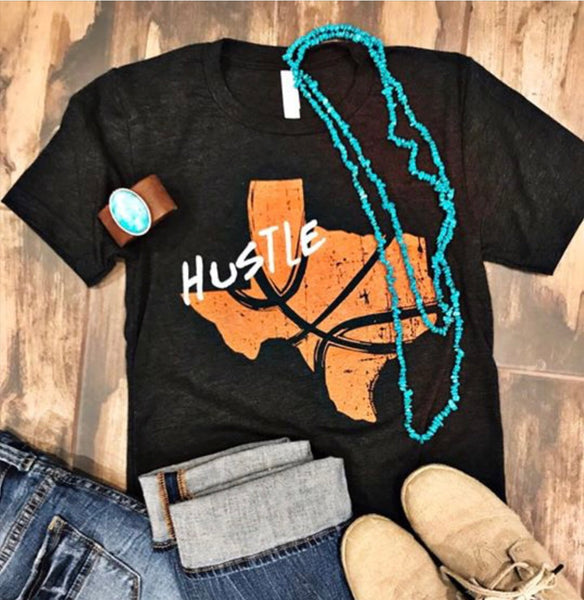 Texas Hustle Basketball Tee