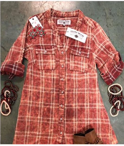 Red Patsy Plaid Tunic by Crazy Train. Light weight. Can be worn two different ways!