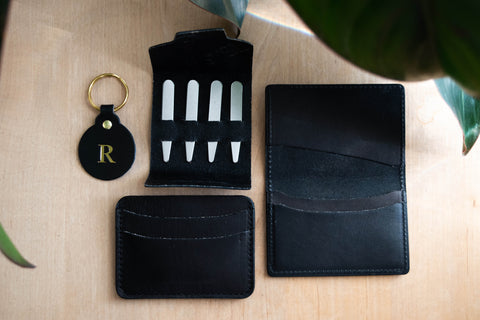 Cobalt Reclaimed Collection Keychain, Collar Stays, Folded Wallet, and Slim Wallet