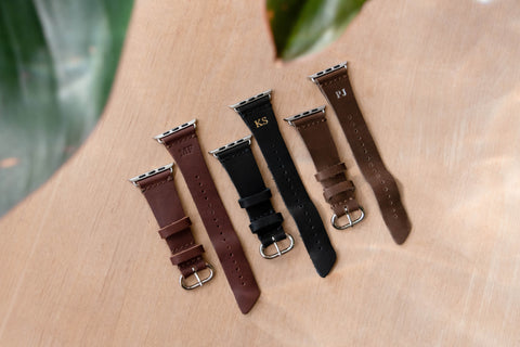 Different colors of personalized leather watch band for Apple Watch
