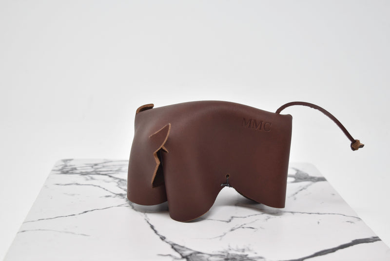Personalized Leather Bull Desk Accessory