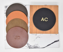 Load image into Gallery viewer, Personalized Leather Circle Coasters - Set of 4