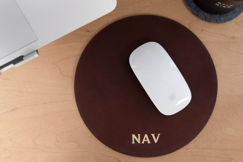 Personalized Round Leather Mousepad
