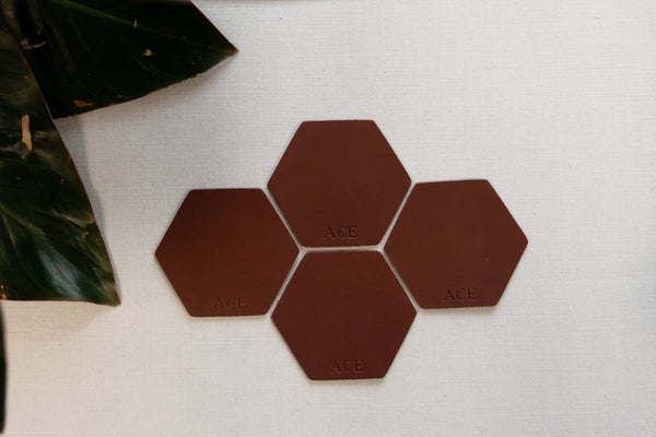 Personalized Leather Hexagon Coasters - Set of 4