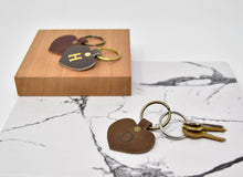 Load image into Gallery viewer, Personalized Leather Heart Keychain