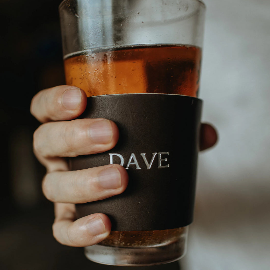 Personalized Leather Pint Glass Sleeve