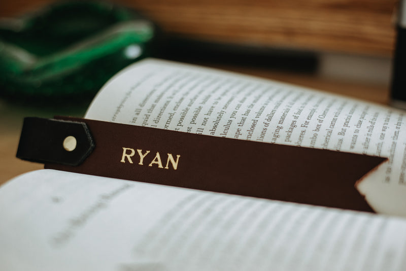 Two-Tone Personalized Leather Bookmark