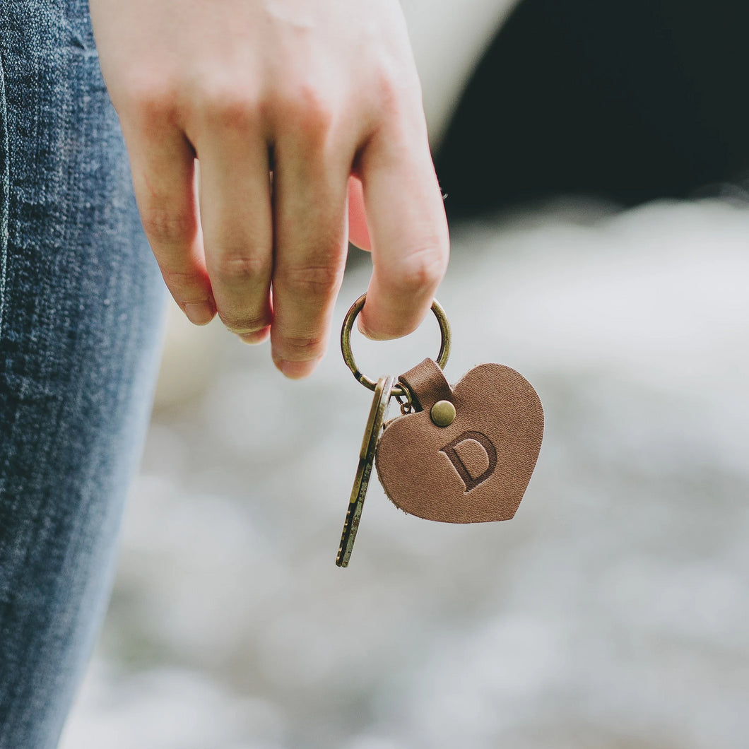 Personalized Leather Heart Keychain