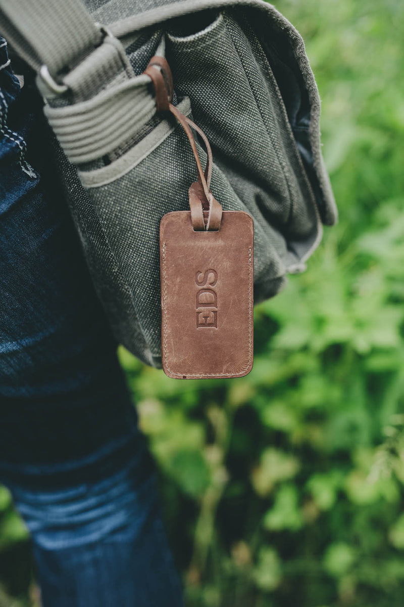 Personalized Sewn Leather Luggage Tag