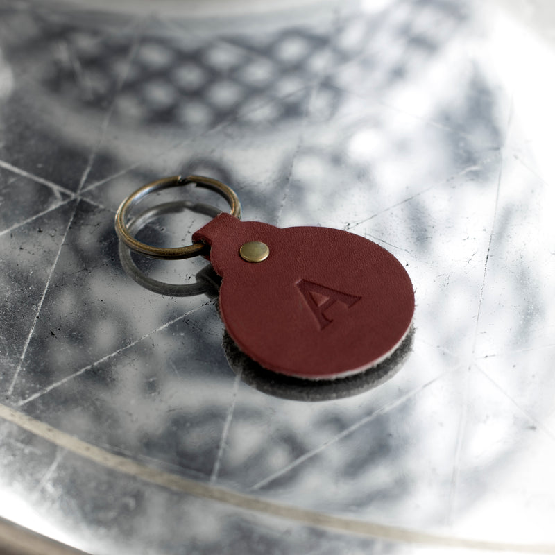 Personalized Leather Circle Key Fob