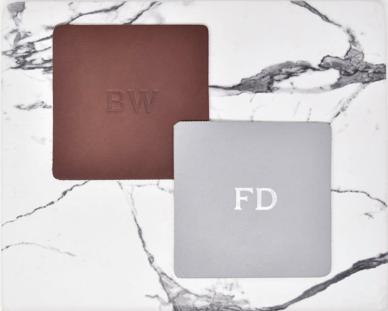 Personalized Leather Square Coasters - Set of 4