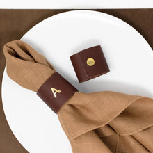 Load image into Gallery viewer, Personalized Leather Napkin Ring. Leather Napkin Holder. Leather Ring. Table Decor. Leather Decor. Set of 2. Snap Napkin Ring. Made in USA.