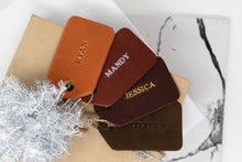 Load image into Gallery viewer, Leather Gift Tags Set of 4. Leather Name Tags. Customized Leather Gift Tags. Personalized Gift Tags. Holiday Gift Tags. Wedding Gift Tags.