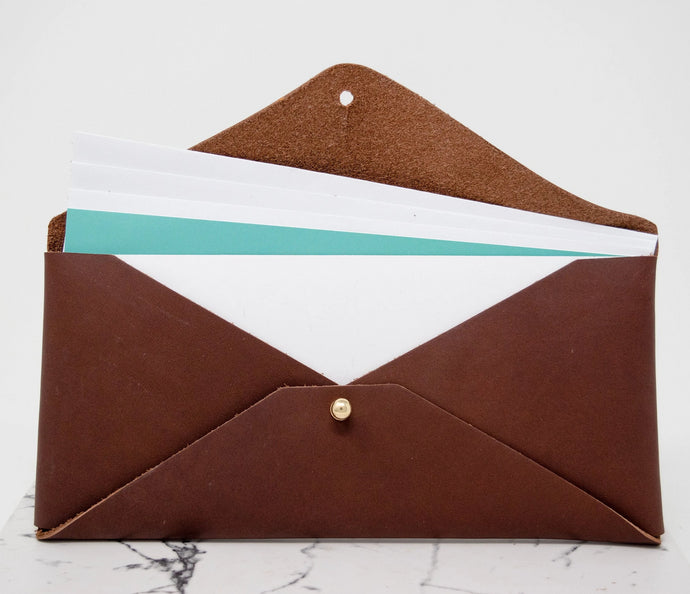 Leather Document Envelope. Monogram Document Holder. Personalized Document Envelope. Custom Leather Envelope. Leather Money Envelope