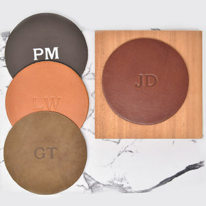 Personalized Leather Circle Coasters - Set of 4