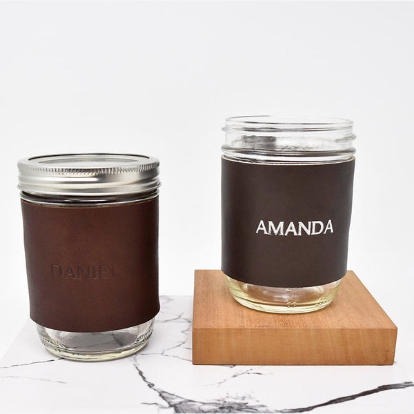 Personalized Leather Mason Jar Sleeve