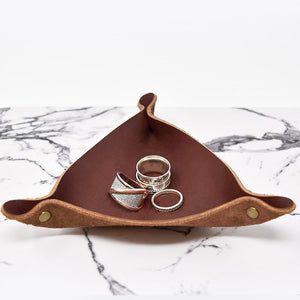 Personalized Leather Ring Tray