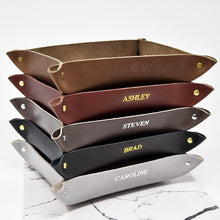 Load image into Gallery viewer, Personalized Leather Valet Tray