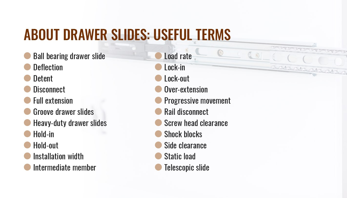 ABOUT DRAWER SLIDES: USEFUL TERMS