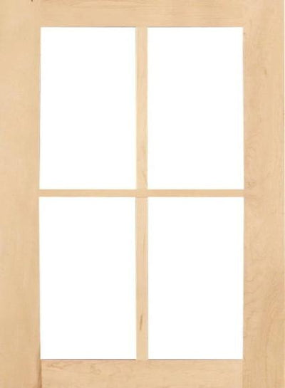 Wilmington Shaker Mullion Custom Cabinet Doors - 4 lite Cabinet Door Cabinet Doors 'N' More Hard Maple
