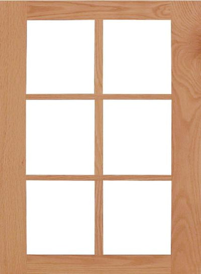 Wilmington Shaker Mullion Custom Cabinet Doors - 6 lite Cabinet Door Cabinet Doors 'N' More Red Oak