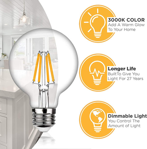 Dimmable LED Edison Light Bulbs, G25 Globe Shape - 6 Watt, 60W Equivalent - 3000K Soft White Lightbulbs – Standard E26 Base – LED Vanity Mirror Light Bulb Set - 4 Pack