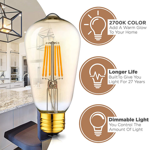 Dimmable LED Edison Light Bulbs: 6 Watt, 2700K Warm Lightbulbs - Amber Gold Tint - 60W Equivalent - E26 Base - Vintage Light Bulb Set - 6 Pack
