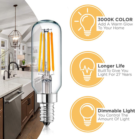 Dimmable E12 LED Bulb Set: 4 Watt, 3000K Warm White Lightbulbs - 40W Equivalent – Chandelier Light Bulbs – T6 Shape - 400 Lumen - UL Listed - Indoor or Outdoor LED Candelabra Bulb Set - 6 Pack