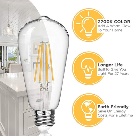 Vintage LED Edison Light Bulbs: 6 Watt, 2700K Soft White Lightbulbs - 60W Equivalent - E26 Base - Filament Light Bulb Set - Non Dimmable - 6 Pack