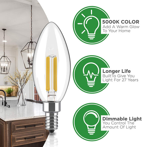 Dimmable E12 LED Bulb Set: 4 Watt, 5000K Cool White Lightbulbs - 40W Equivalent – Chandelier Light Bulbs – Round Tip - 400 Lumen - UL Listed - Indoor or Outdoor LED Candelabra Bulb Set - 6 Pack