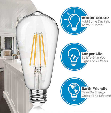 Vintage LED Edison Light Bulbs, 6 Watt, 4000K Daylight White Lightbulbs - 60W Equivalent - E26 Base - Filament Light Bulb Set - Non Dimmable - 6 Pack