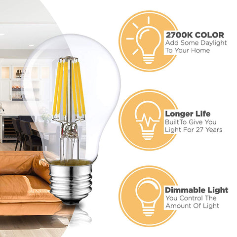 Dimmable LED A19 Bulbs - 2700K Warm White