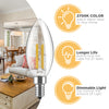 Image of Dimmable LED Candelabra Light Bulbs: 4 Watt, 2700K Teardrop Lightbulbs for Indoor Lamp, Chandelier, Ceiling Fan or Outdoor Porch Lights - 400 Lumen Warm White Retro Filament Lightbulb Set - 6 Pack