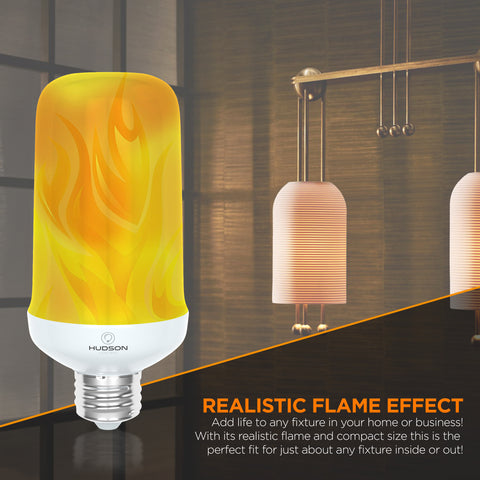 LED Flame Effect Light Bulb: E26 Standard Base Flame Bulb - Upside Down Effect - 3W - 200 Lumen - Energy Efficient Flickering Fire Lights for Indoor/Outdoor Use - 2 pack
