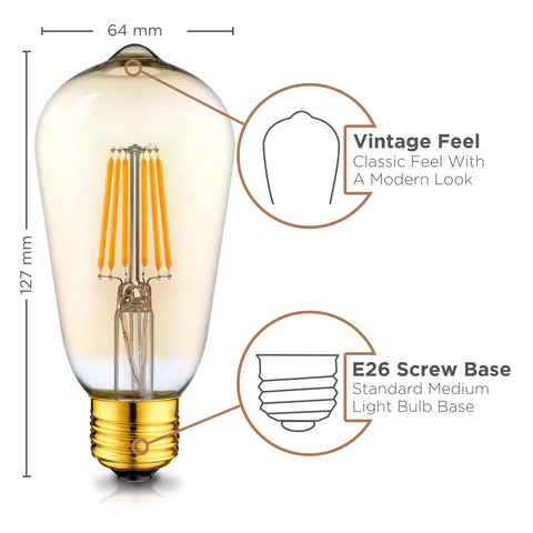 Dimmable LED Edison Bulbs - 2200K Amber Warm