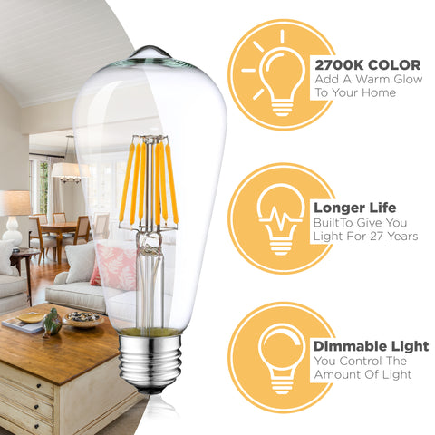 Dimmable LED Edison Light Bulbs: 6 Watt, 2700K Soft White Lightbulbs - 60W Equivalent - E26 Base - Vintage Light Bulb Set - 6 Pack