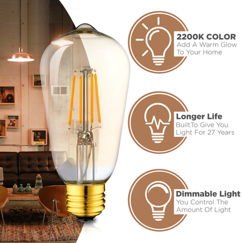 Dimmable LED Edison Light Bulbs: 4 Watt, 2200K Warm Lightbulbs - Amber Gold Glass - 40 Watt Equivalent - E26 Base - Decorative Vintage Light Bulb Set - 4 Pack