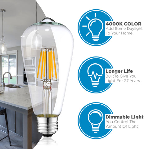 6 Pack Dimmable LED Edison Bulbs - 4000K Daylight White
