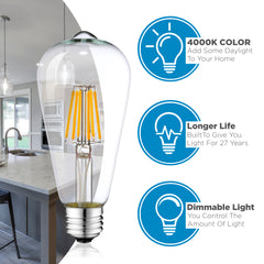 Dimmable LED Edison Light Bulbs: 6 Watt, 4000K Cool White Lightbulbs - 60W Equivalent - E26 Base - Vintage Light Bulb Set - 6 Pack