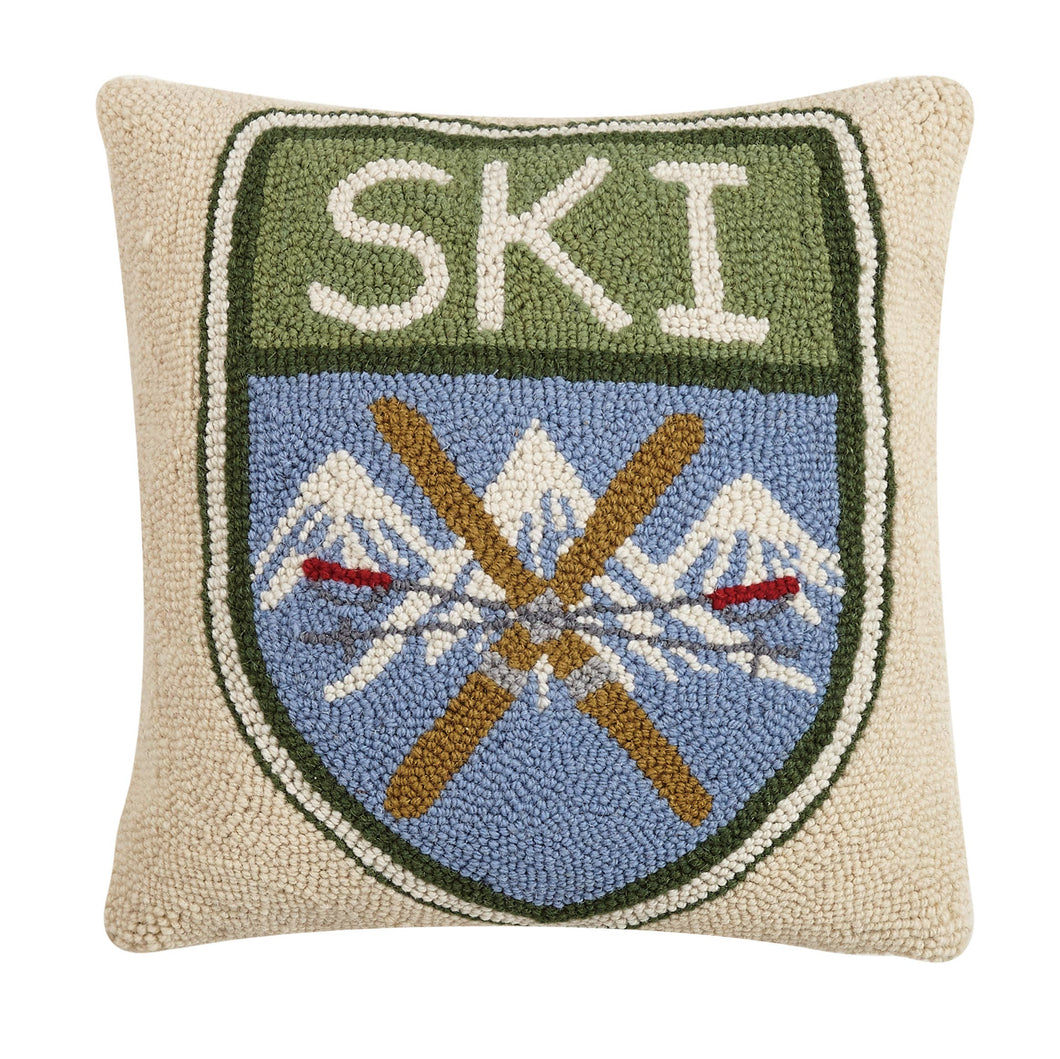 Ski Badge Wool Decorative Pillow