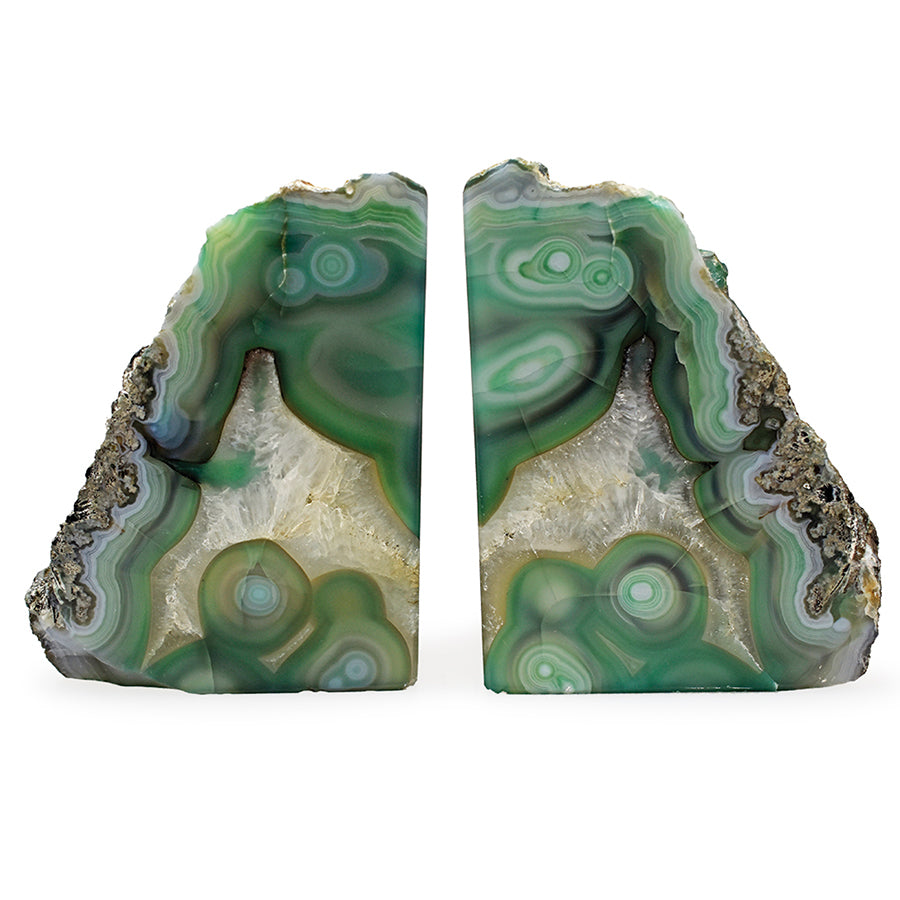 Green Agate Bookend Set of Two