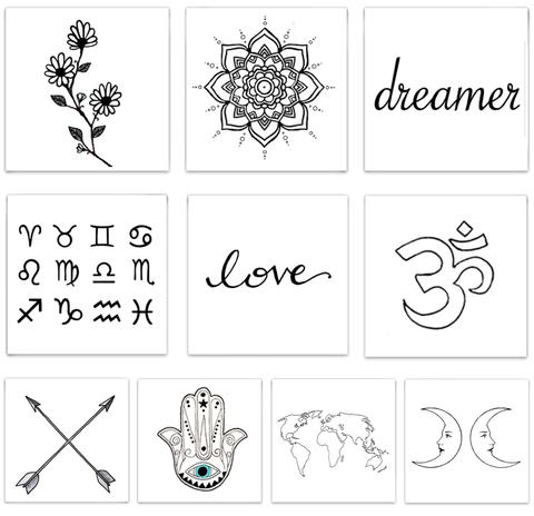 The Dreamer Pack Temporary Tattoos