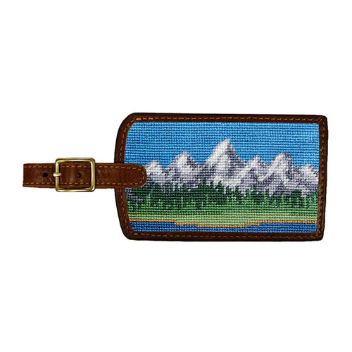 Tetons Needlepoint Luggage Tag