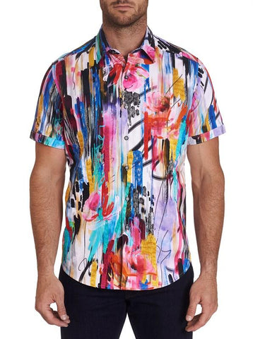 Robert Graham Men's Button Up Short Sleeve Dress Shirt- MPH