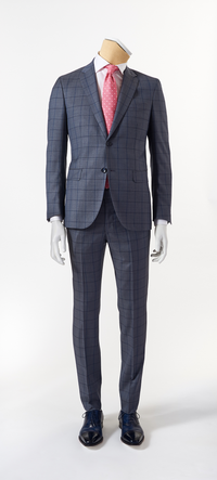 Calvaresi Suit - Grey with Blue Check