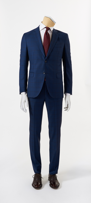Calvaresi Suit - Royal Blue with Navy Check
