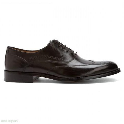 Johnston & Murphy Stratton Wingtip Oxfords in Black Calfskin | Men's Shoes 15-7071