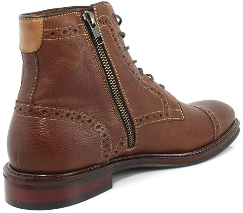 Johnston & Murphy Warner Cap Toe Zip Boot Tan 20-3876