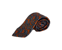 Dion Men's 100% Silk Neck Tie - Paisley - Orange/Blue - BNWT